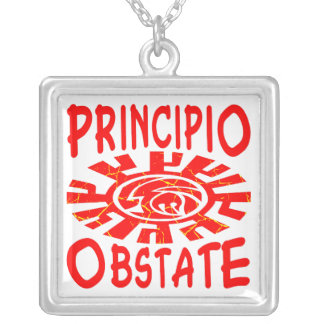 Principio Obstate Resist From The Begining (Latin) Square Pendant Necklace