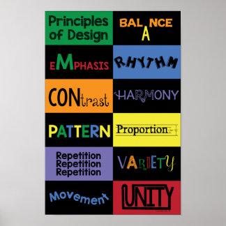 Principios de diseño con colores brillantes póster