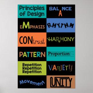 Principios de diseño con colores clásicos póster
