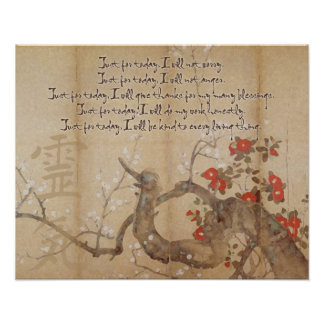 Principios de Reiki de la acuarela de la flor de c Póster