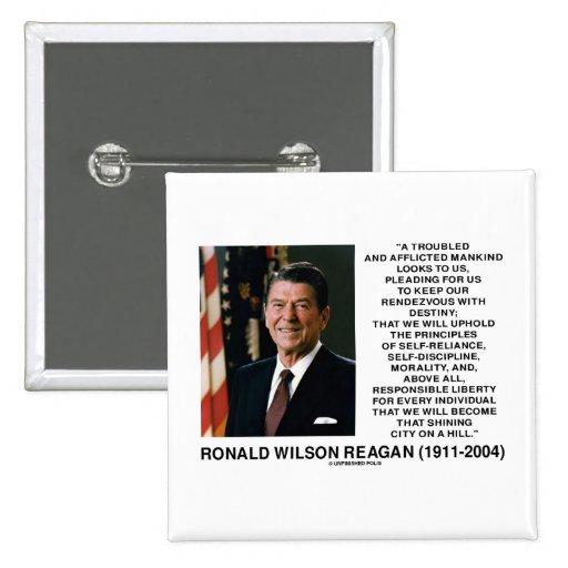 Principios del destino de Reagan que brillan la Pin Cuadrada 5 Cm