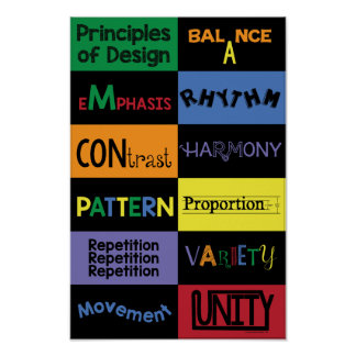 Principles of Design with Bright Colors Poster