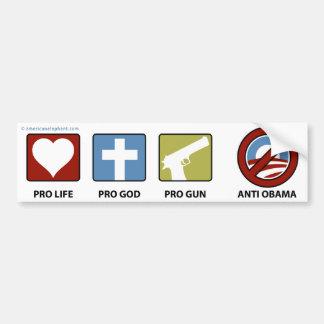 Princples contra Obama Pegatina De Parachoque