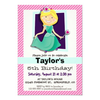 Priness, Green Dress; Pink & White Stripes 5x7 Paper Invitation Card