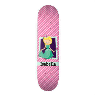 Priness, Green Dress; Pink & White Stripes Skateboard Deck