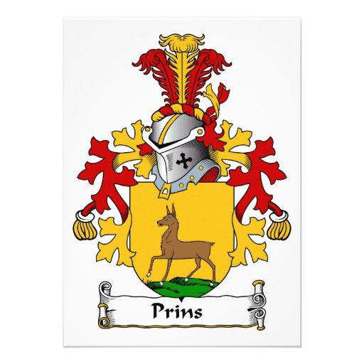 Prins Family Crest Personalized Invitations