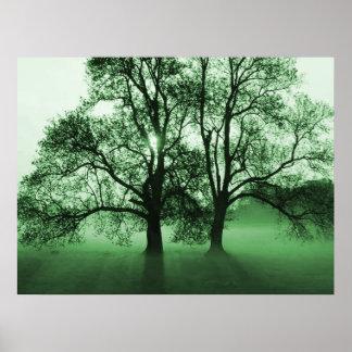 PRINT - 2 Big Trees Green