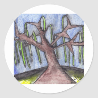 Print 8 Droopy Depressed Tree in the Middle of No Classic Round Sticker