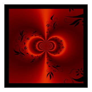 Print Abstract Floral Dream Red & Black Print