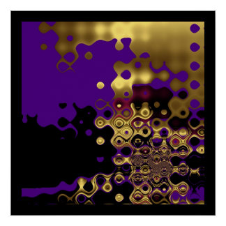 Print Abstract  Melted Gold on Purple & Black