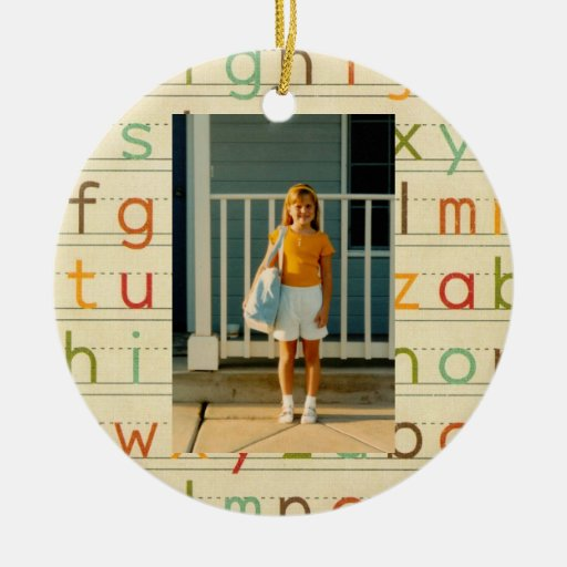 Print Alphabet First Day of School All Occasion Double-sided Ceramic Round Christmas Ornament