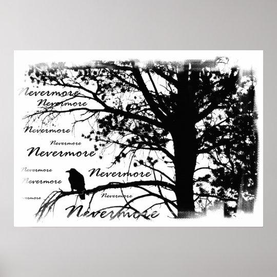 Print - B&W Nevermore Raven Silhouette