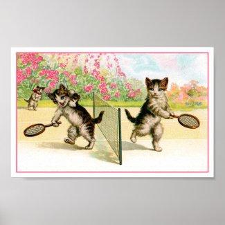 Print: Badminton Kittens Vintage Art print