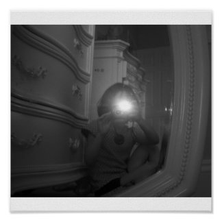"""Print Black and White """"Flash"""" Girl in White Room"""
