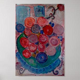 Print bowl flowers green vase blue table cat windo