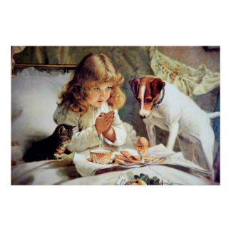 Print: Breakfast in Bed: Girl, Fox Terrier & Kitty Poster