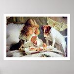 Print: Breakfast in Bed: Girl, Terrier & Cat Poster