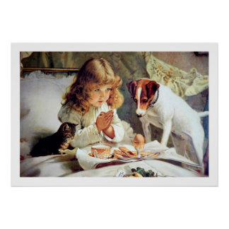 Print: Breakfast in Bed: Girl, Terrier & Cat Poster