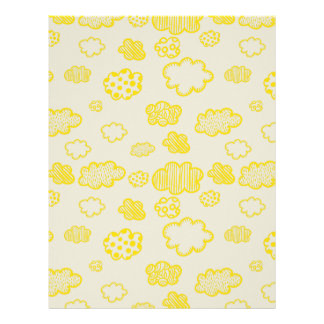 Print cotton candy yellow fluffy clouds. letterhead