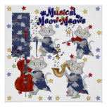Print Cute Cats Music Musical Cat Band Poster