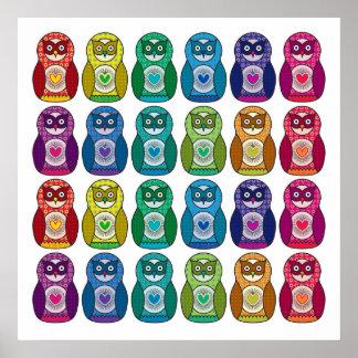 Print - Cute Rainbow Matryoshka Owl
