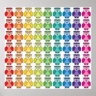 Print - Cute Rainbow Owl Pattern
