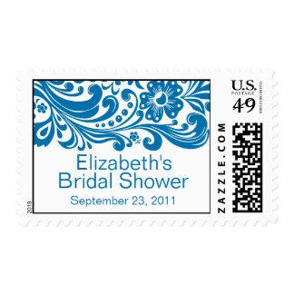 Print Floral Swirl Damask Bridal Shower Stamp Blue