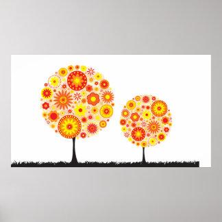 Print - Flower Wishing Tree Orange