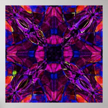 Print - Fractal Pattern Purple Blue Pink