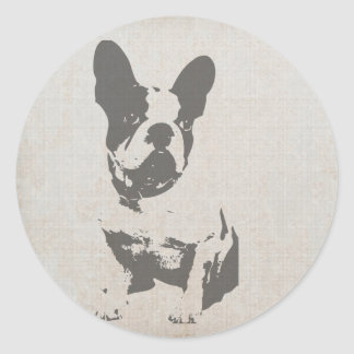 print French bulldog in vintage texture Classic Round Sticker