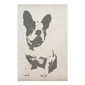 """print French bulldog in vintage texture 5.5"""" X 8.5"""" Flyer"""
