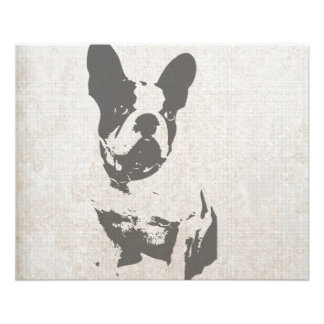 """print French bulldog in vintage texture 4.5"""" X 5.6"""" Flyer"""