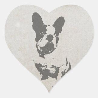 print French bulldog in vintage texture Heart Sticker
