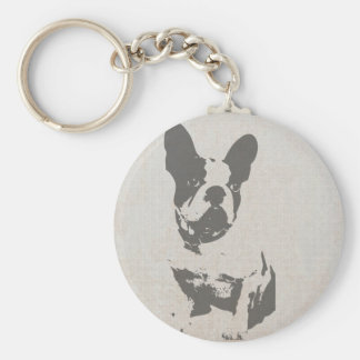 print French bulldog in vintage texture Keychain