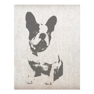print French bulldog in vintage texture Letterhead