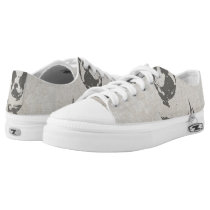 print French bulldog in vintage texture Low-Top Sneakers