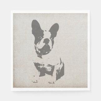 print French bulldog in vintage texture Napkin