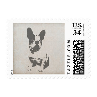print French bulldog in vintage texture Postage Stamp