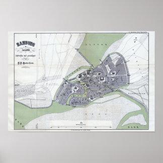"Print ""Hamburgo tarjeta de ciudad, 1320 "" Póster"
