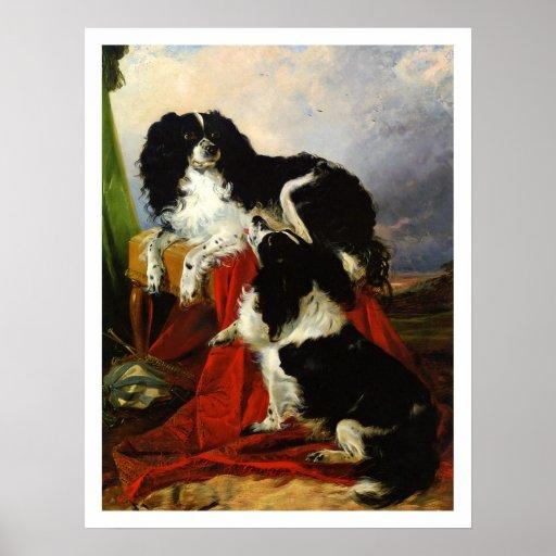 Print: King Charles Spaniels - Richard Ansdell