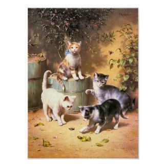 Print Kittens Playing with Beetles