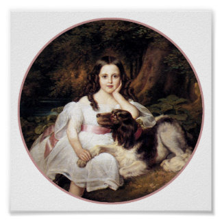 Print:  Landscape with Girl and Dog Poster