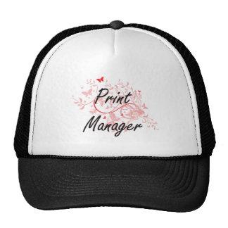 Print Manager Artistic Job Design with Butterflies Trucker Hat