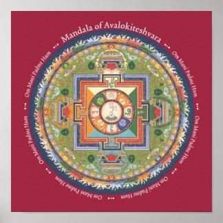 PRINT Mandala of Chenrezig - with Mantra