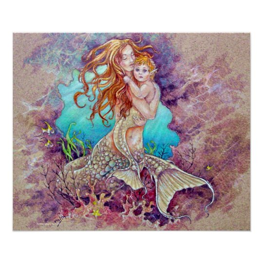Mermaid Gifts Mermaid Decor Mermaid Art Print Mother S: PRINT - Mermaid Mother