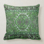 Print of Antique Oriental Carpet in Olive Green Pillow