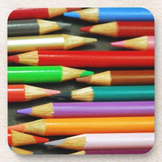 Print of Colourful pencils Beverage Coaster