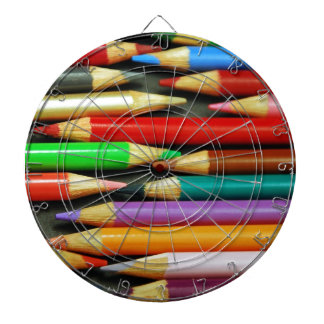 Print of Colourful pencils Dartboard With Darts