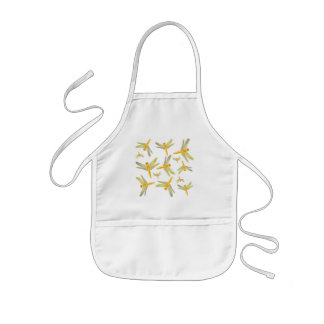 Print of gold and green dragonflies kids' apron