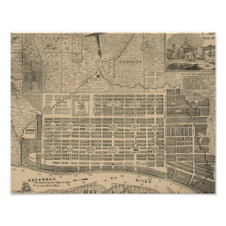 Print of Historic Savannah Georgia Map